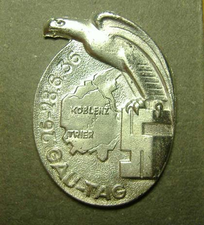 German Nazi Badge 1936 - Koblenz Trier - Gau Tag - Repro